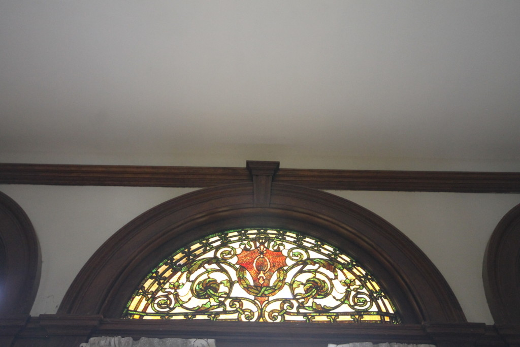 One of three stained glass panes in Great Hall