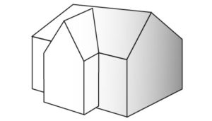 Cross-gable roof illustration.