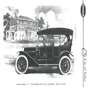An illustration of Enger's Model F parked in front of the Enger Mansion