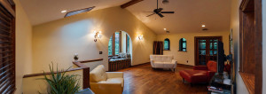 The family room addition, with vaulted ceiling and window alcove.