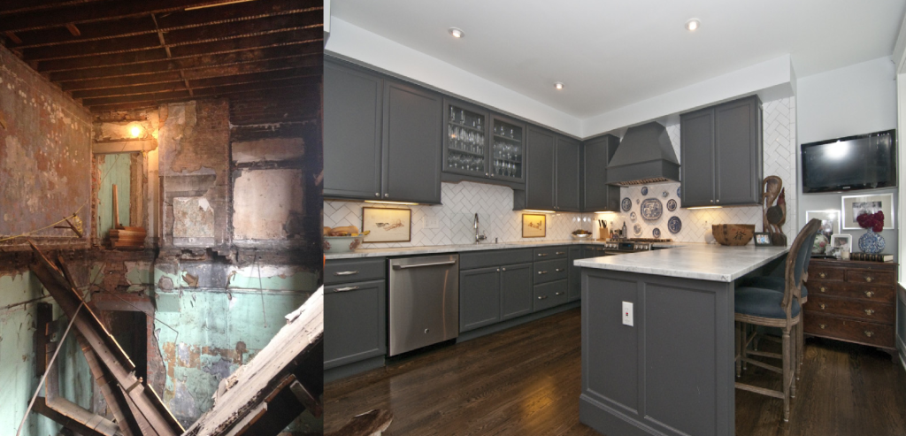 before and after 1428 Republic kitchen