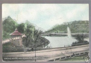 Eden Park postcard with Springhouse Gazebo and Reservoir, 1910