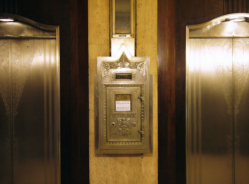 Detail of the elevator lobby in Carew Tower showing Art Deco post box.
