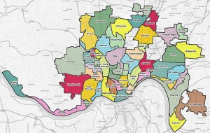 Map of Cincinnati's 52 neighborhoods.