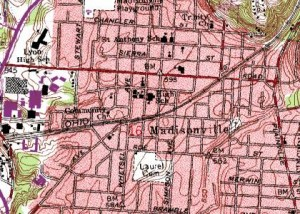 Topographical map showing Madisonville.