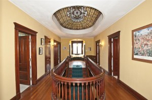 View of the second floor and stained glass dome window at the Roth House.