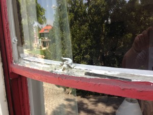 The window sash was in such poor condition, it was sagging.
