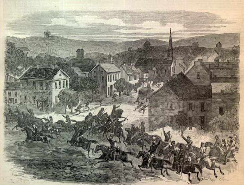 Morgan's raiders entering (Old) Washington, Guernsey County, Ohio