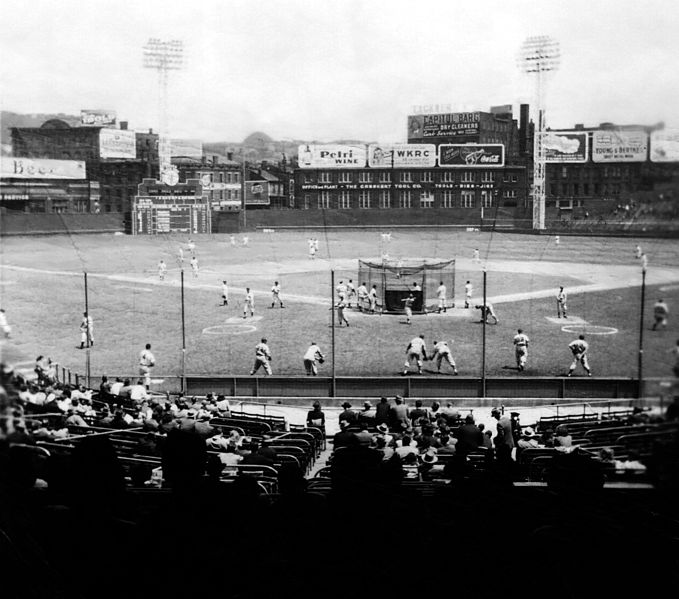 Crosley Field with new-fangled electric lighting ca 1940s