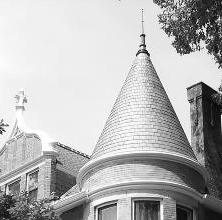 Slate turret on a Victorian home