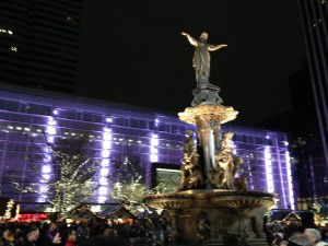 Fountain Square lit up for the holidays.