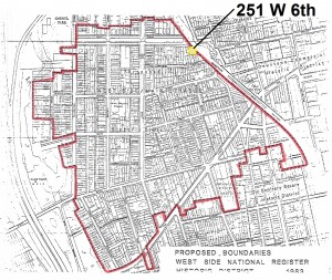West Site/Mainstrasse National Register boundaries as depicted on the NRHP Inventory-Nomination Form, 1983