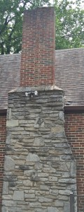 The chimney at 700 E. Mitchell Avenue--note just a touch of flourish in the brick pattern.