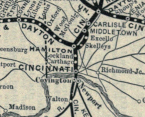1896 CH & D Railroad map showing Carthage, OH stop.